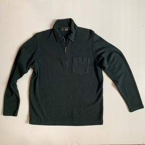 Banana Republic Cotton Half-Zip Pine Green Sweater